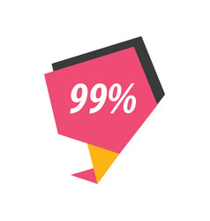 Ninety nine percent label pink yellow black vector
