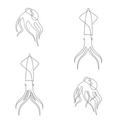 Octopus and squid set drawn one vector