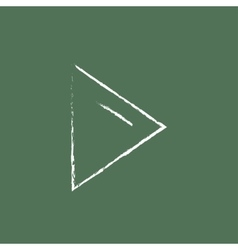 Play button icon drawn in chalk vector