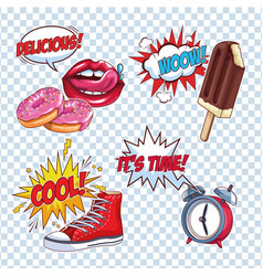pop art cartoon set vector image