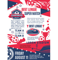 poster for football or soccer match vector image