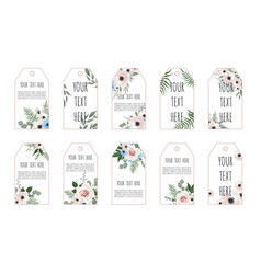 price tags collection with flowers vector image