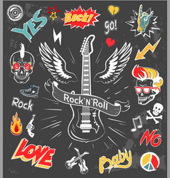 Rock-n-roll forever badges vector