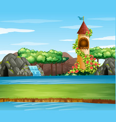 Scene with tower river vector