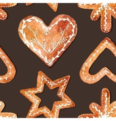 Seamless pattern of cute watercolor gingerbread vector