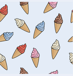 seamless pattern with icecream cones vector image