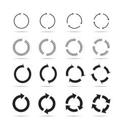Set black circle arrows signs vector