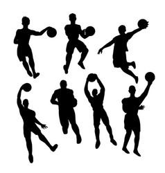 Set of basketball players silhouette vector