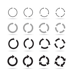 set of black circle arrows signs vector image