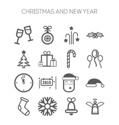 set simple icons for new year and christmas vector image