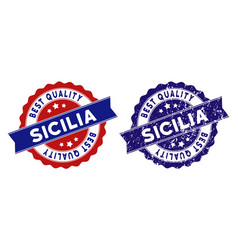 Sicilia best quality stamp with grungy style vector