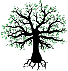 Silhouette of a tree with green leaves vector