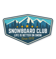 Snowboard club patch concept vector