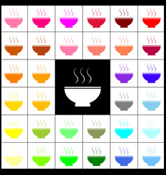 soup sign felt-pen 33 colorful icons at vector image
