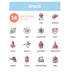 Space concept - line design icons set vector