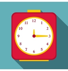Square alarm clock icon flat style vector