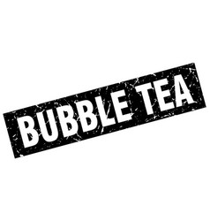 Square grunge black bubble tea stamp vector