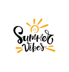 Summer vibes typographic inscription on white vector