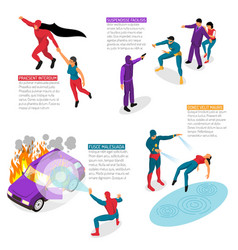 Super hero isometric infographics vector