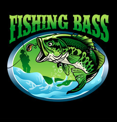 t-shirt design finishing bass fish vector image