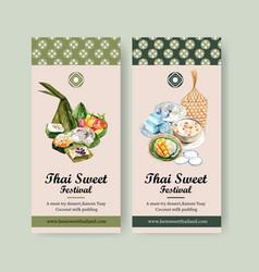 Thai sweet flyer design with pyramid dough vector