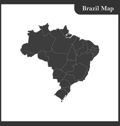 the detailed map of the brazil with regions vector image