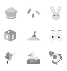 Toys set icons in monochrome style Big collection vector