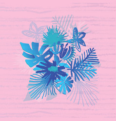 tropical flower composition duotone style vector image