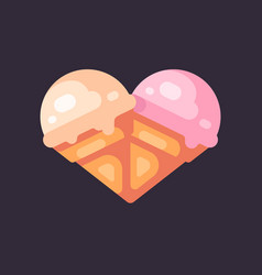 two ice cream cones in the shape of a heart flat vector image