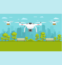 unmanned delivery of packages photography around vector image