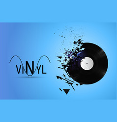 Vinyl record exploded into small pieces vector