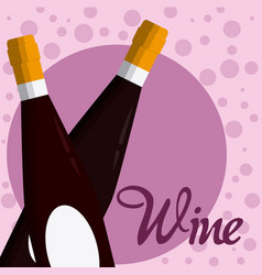 Wine bottles crossed vector