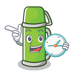 With clock thermos character cartoon style vector