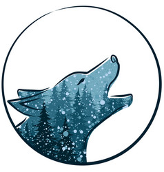 Wolf with winter forest vector