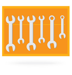 Wrench collection tool isolated on orange vector