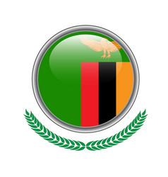 zambia flag button zambia flag icon of zambia vector image