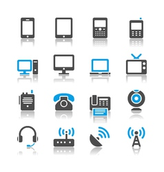 Communication device icons reflection vector image vector image