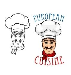 European chef in cook hat vector image