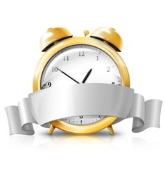 Golden alarm clock with silver white banner -Sale vector image
