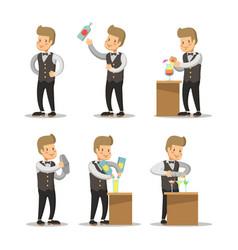 happy barista cartoon barman with cocktails vector image