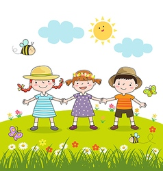 Happy children holding hands on blossom meadow vector image vector image