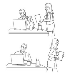 man looking man looks at a woman in front and back vector image vector image
