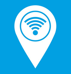 Map pin pointer with wi fi symbol icon white vector