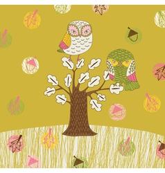 seasonal owl tree vector image vector image