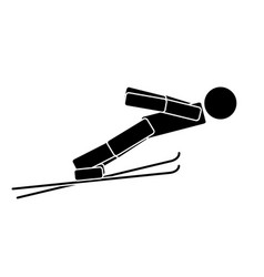 ski jumping flat icon vector image vector image