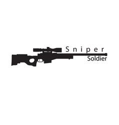sniper soldier black text gun background im vector image