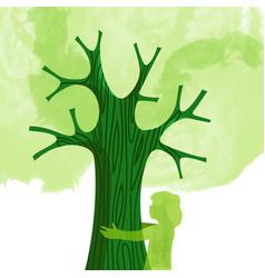 tree hug children nature love concept vector image