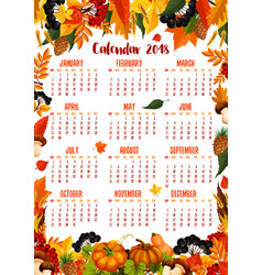 autumn nature 2018 calendar template vector image vector image
