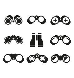 Binocular icons black set vector image