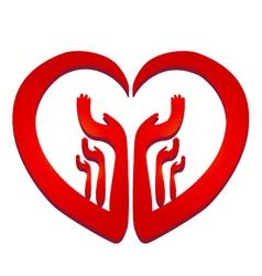 Hands in a heart logo vector image vector image